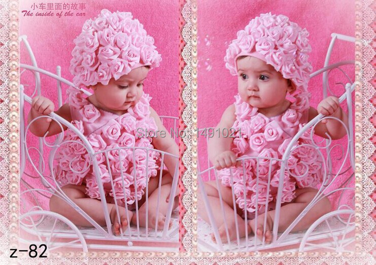 For 0-6 Months 1set Hand Crochet Baby Rose Flower Hats Newborn Costume Set baby Photography Props SY78(China (Mainland))