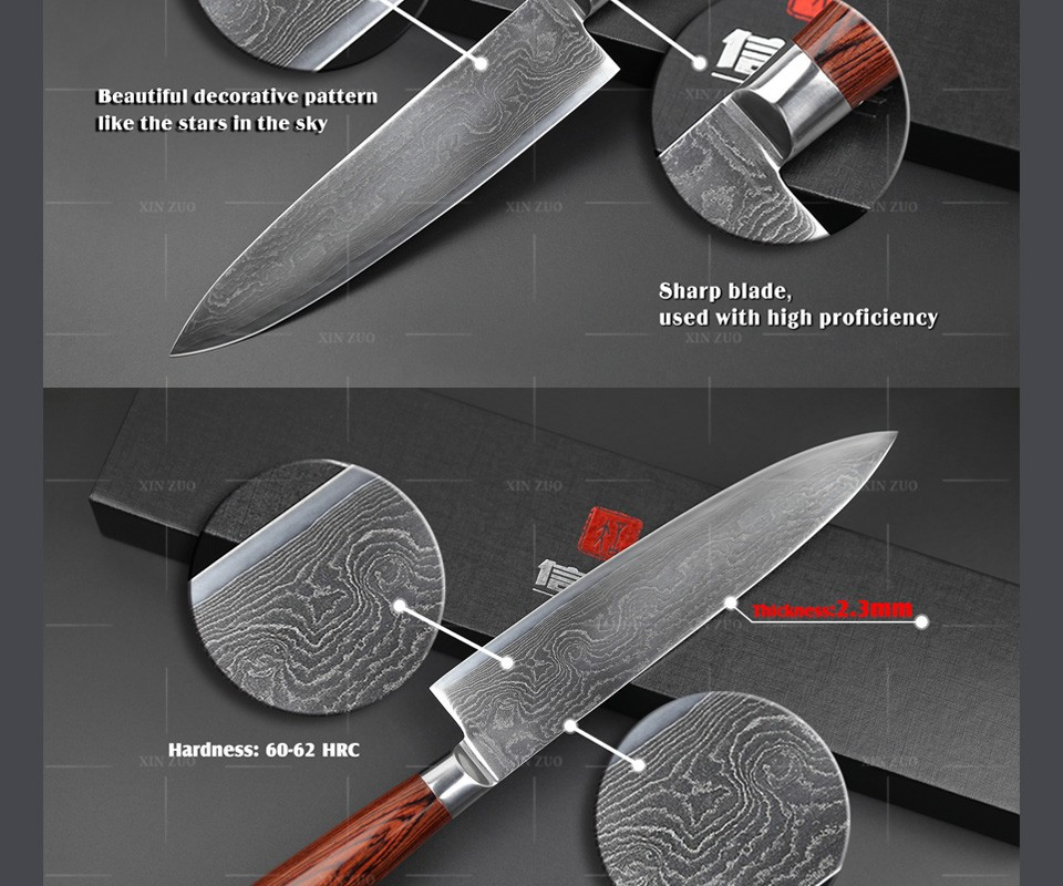 "Buy 73 layers Japanese VG-10 Damascus steel kitchen knife High quality forged  8"" inch chef knife Color wood handle free shipping cheap"