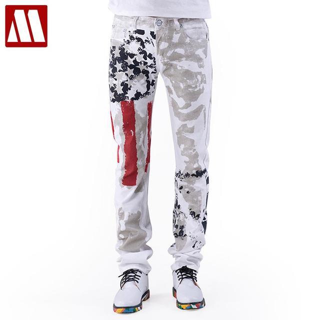 Американский флаг мужчин джинсы 2016 новое поступление цветочный принт прямые жан ...