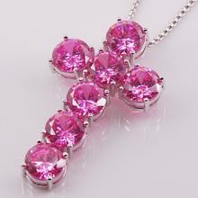 Enormous Cross Pink Sapphire 925 Sterling Silver Trend Jewellery Pendant TE415