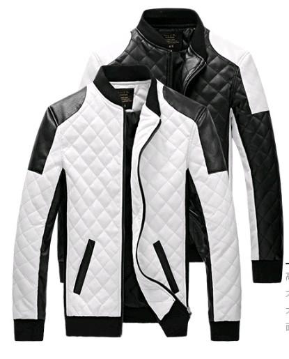 2016 new men Lether Jackets men black white winther Leather Jaquetas Jackets coat Men Men's Winter Leather & Suede large Jacket(China (Mainland))