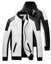 2016 new men Lether Jackets black and white winther Leather Jaquetas Jackets coat Men Men's Winter Leather & Suede Jacket(China (Mainland))