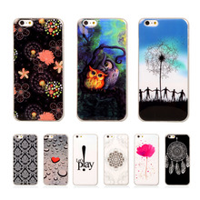 For iPhone6 4.7 Fashion Cartoon Silicone TPU Cover For apple iPhone 6 6s 6G Phone Case Soft Plasitc Printed Flower Back Cases
