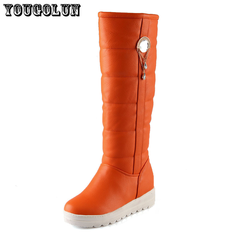 soft PU leather black red wedges round toe women wedge flat snow boots,2015 winter style platform buckle chain ladies shoes<br><br>Aliexpress