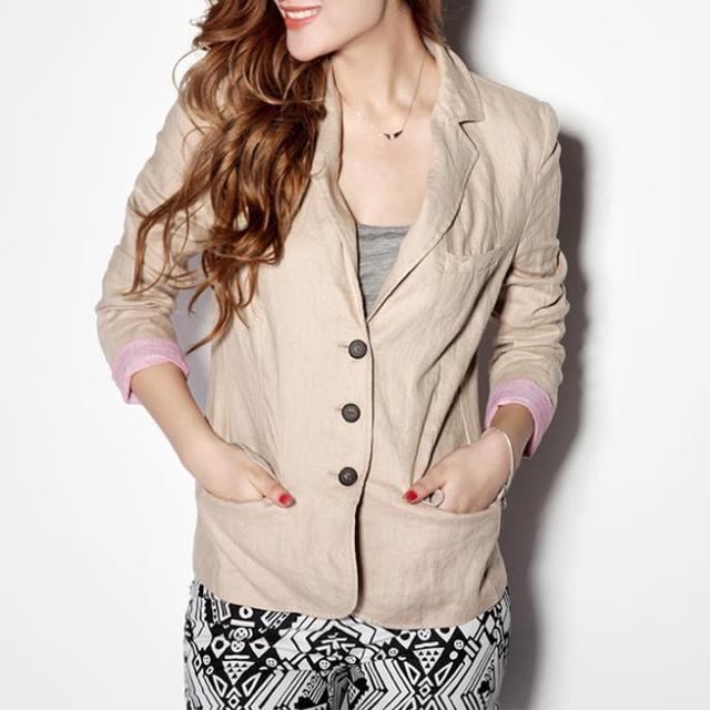 Женские пиджак FeМиниno льняной пиджак пиджак женщин костюм кардиган складная рукава ...