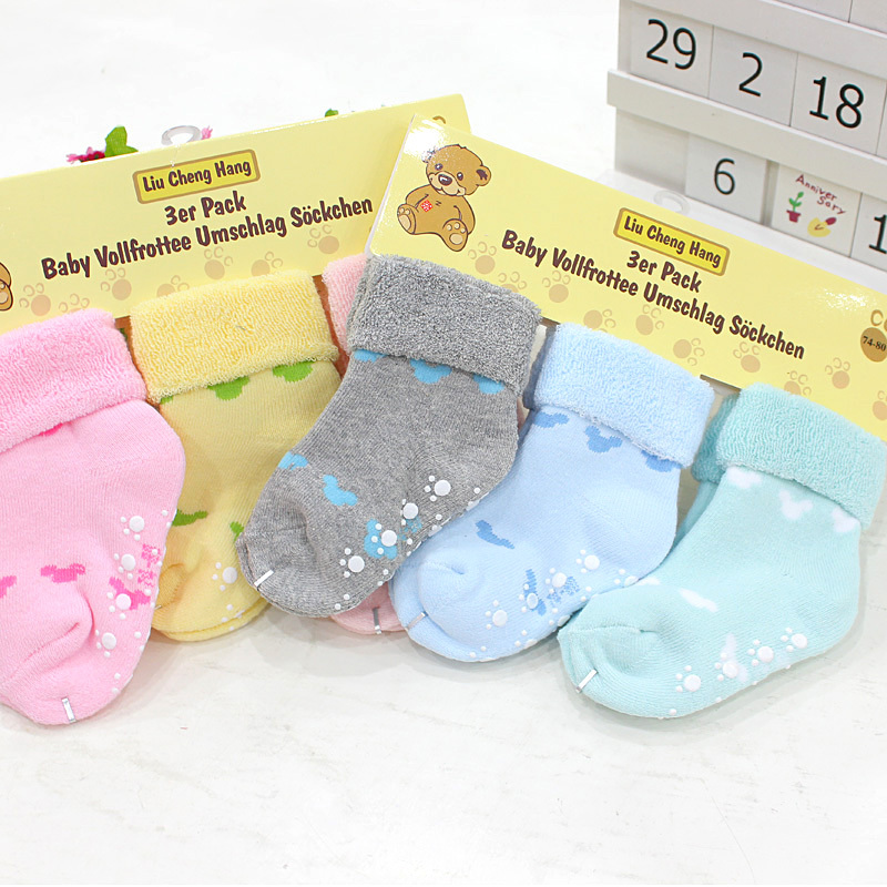 Free shipping ( 3 pairs/lot) 100% cotton Baby autumn and winter socks newborn floor socks baby socks 0-24 months baby socks(China (Mainland))