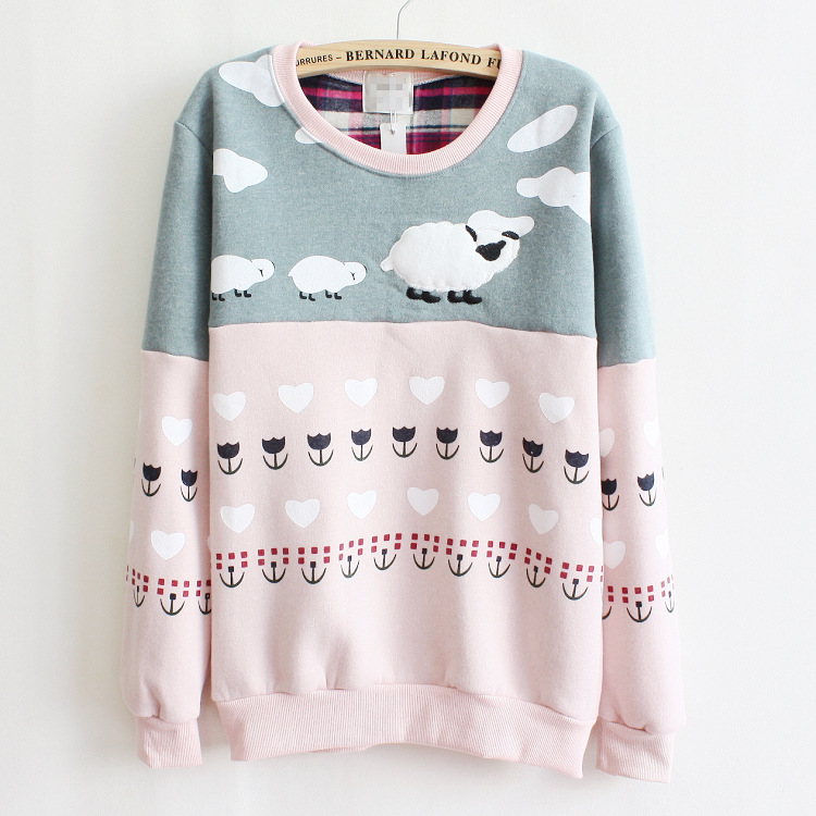 2014 brand newest fleece warm winter women hoody casual cute sweatshirt sheep printed mix color tops cotton pullover tracksuit - Hong Kong J&R Trading Co.,LTD store