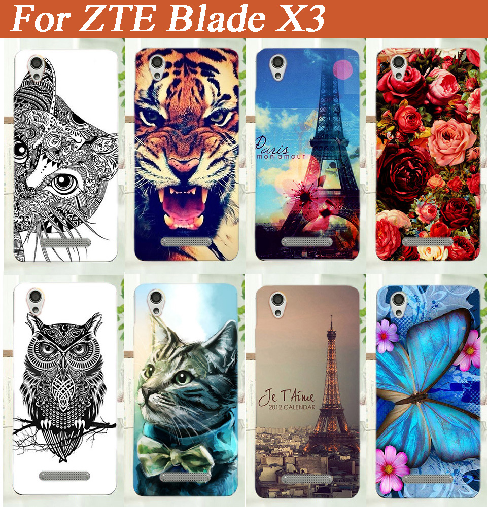 Fashion Cartoon Beautiful Butterfly Design TPU case For ZTE Blade X3 D2 5.0inch 5'' Black and White Animals phone tpu case cover(China (Mainland))