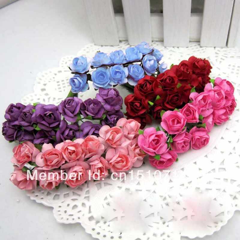 5Dozen Free Shipping Multi-colors Artificial Mini Flower Bud DIY Paper Rose Wedding Decor Gift cnkB8(China (Mainland))