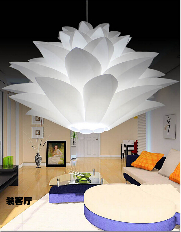 creative novel DIY Modern pinecone PP/PVC Pendant light lotus led e27 iq puzzle lamp white/orange 38/48/58cm 110v 220v 1139(China (Mainland))