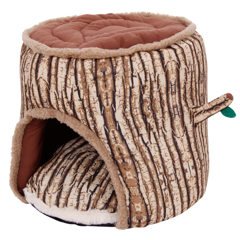 New Style Tree Stump Pet Bed Soft Warm Dog Cat House Cozy Nest Puppy High Quality Free Shipping Pet Product Wholesalers(China (Mainland))