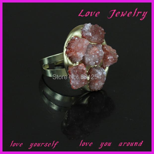 1PC Charming Flower Shape Red Crystal Geode Druzy Stone 22K Gold Plated Drusy Quartz Finger Ring Fashion Women Fashion Jewelry(China (Mainland))