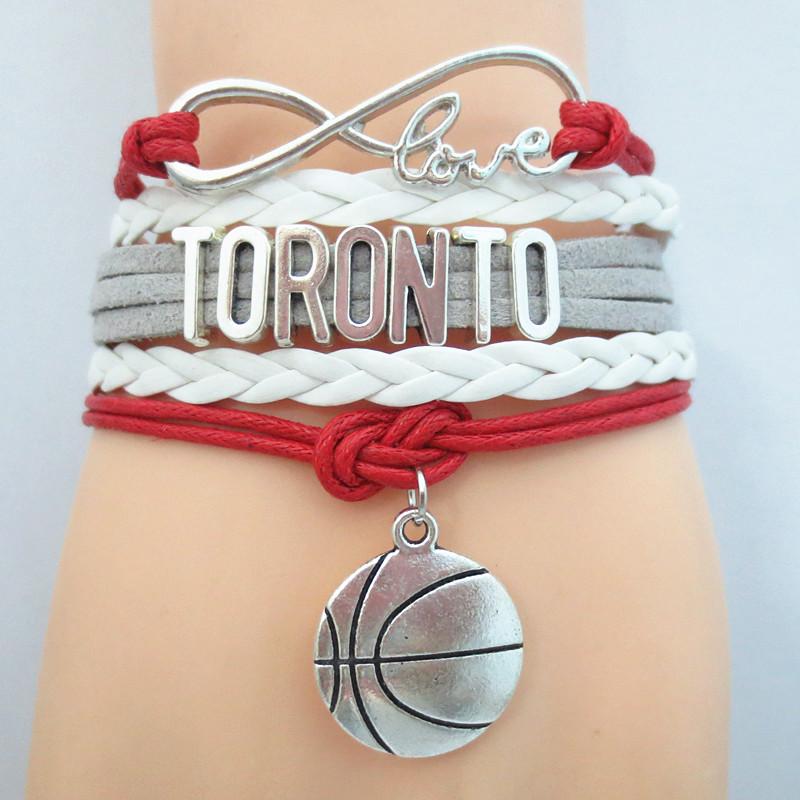 Infinity Love Toronto basketball Team Bracelet red white gray Customized Raptors Wristband friendship Bracelets B09443(China (Mainland))