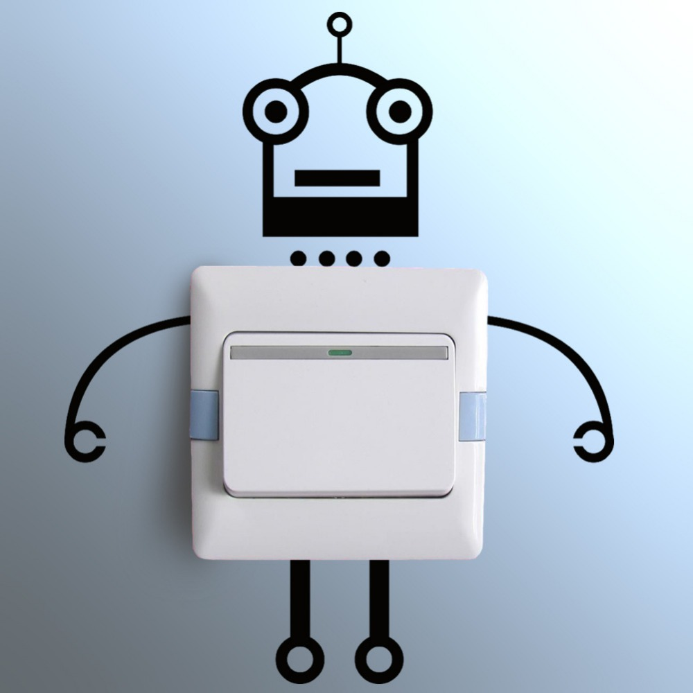 funny little Robot Switch decal home decal wall sticker/ Light Switch decor art mural(China (Mainland))