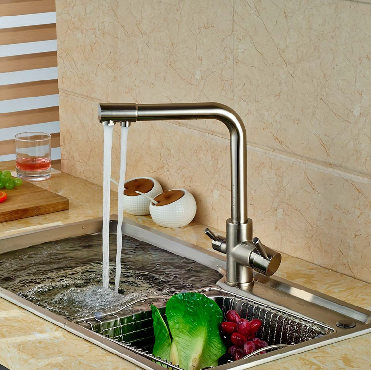 Фотография Widespread Brushed Nickle Kitchen Faucet Swivel Spout Tap Hot&Cold Faucet Deck Mounted