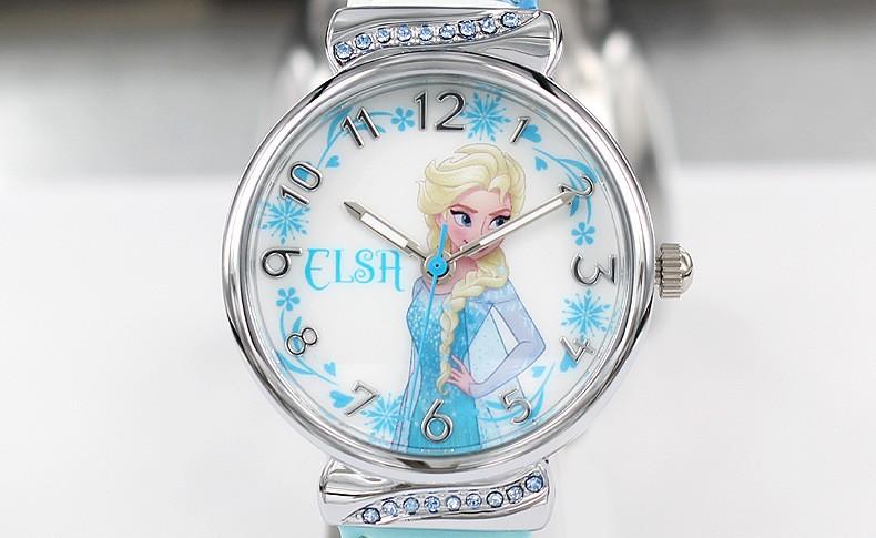 Disney бренда детские часы Замороженные Девушка кварц 30 м водонепроницаемый Мультфильм Аниме дети часы Искусственная кожа наручные часы