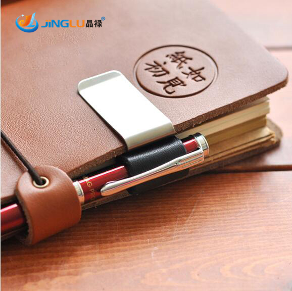 Metal Pen Holder Brass Pen Clip For Vintage Genuine Leather Traveler Notebook Cowhide Diary Spiral Loose Leaf(China (Mainland))