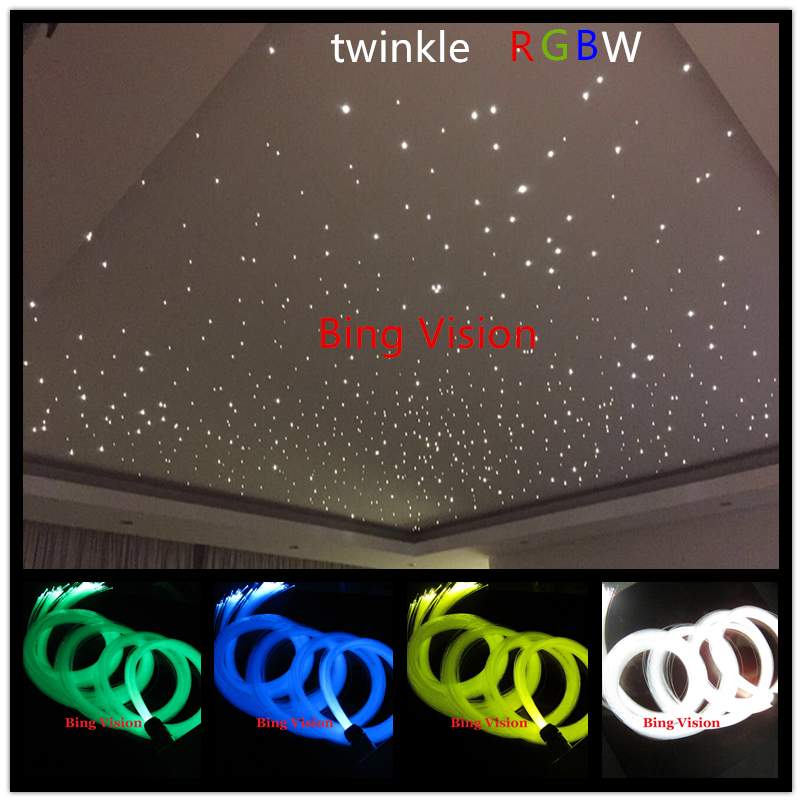 twinkle led fiber optic star ceiling lights,200 pcs 0.75mm PMMA fiber 2 m cree rgbw color twinkle light engine RF remote(China (Mainland))