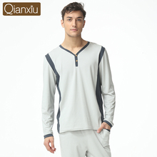 2016 Spring Brand homewear Men's casual Pajama sets Male V-neck collar shirt & pants Men's Modal Cotton sleepwear suit Plus Size(China (Mainland))