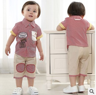 cheap clothes online shop new 2014 fashion baby boy clothes retail baby 2pieces shortsleeve shirt+trousers(China (Mainland))