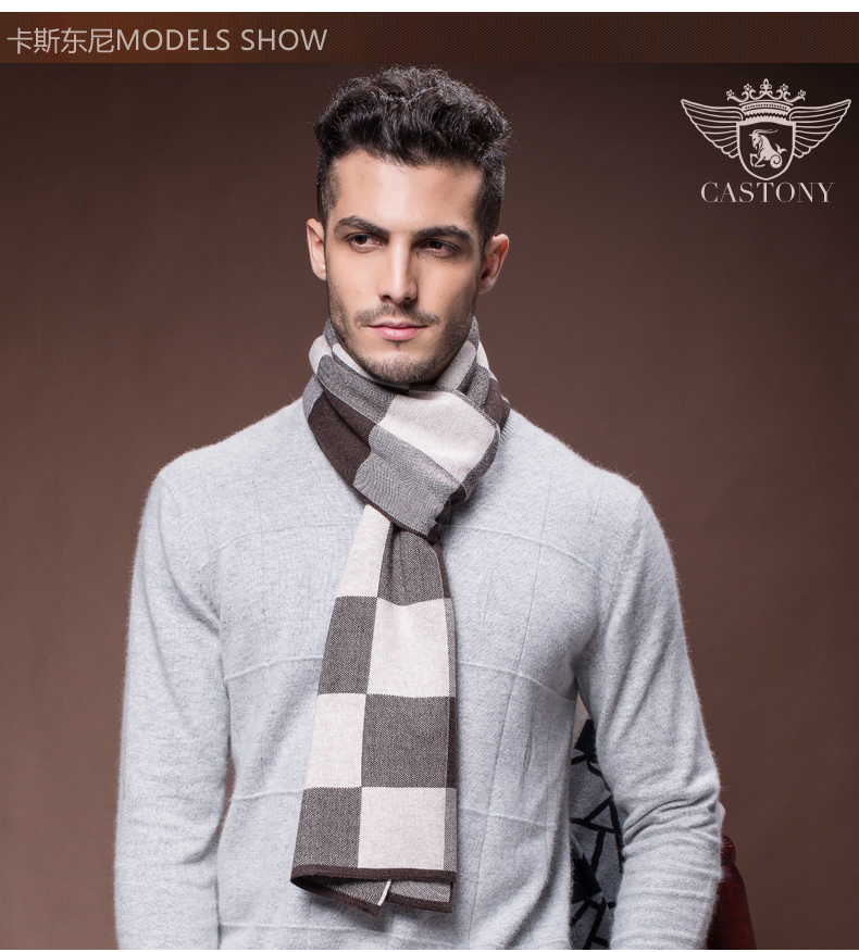 Men Scarf  Wool Scarf  Winter Design Striped Scarf Men Shawls Scarves Men Business  Wraps High Quality Christmas Gift B-3833