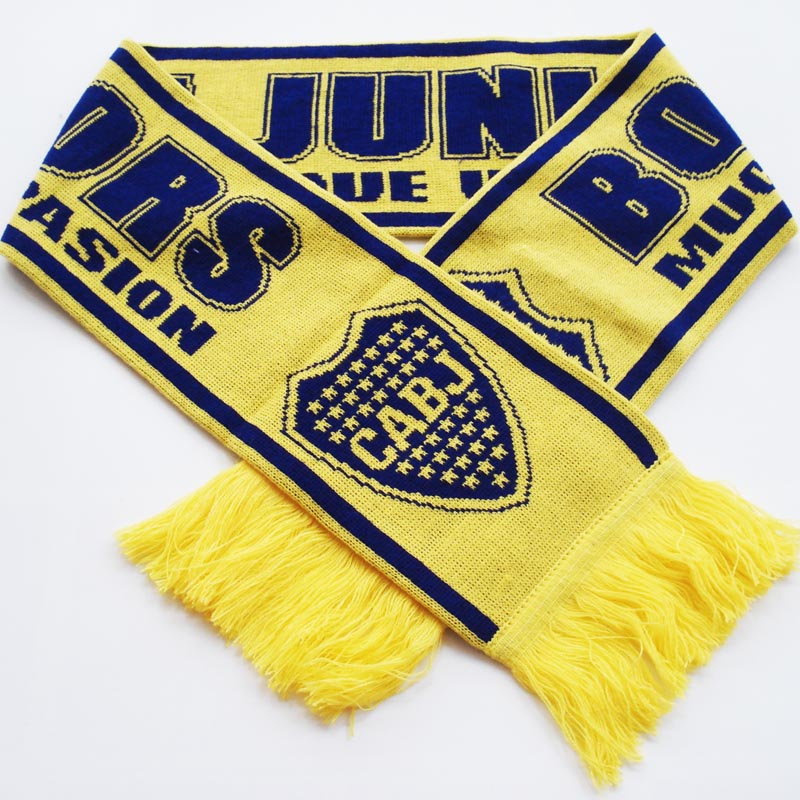 Knitting Pattern Football Scarf : Club Atletico Boca Juniors Knitting Jacquard Footall Scarf Knitted Soccer Sca...