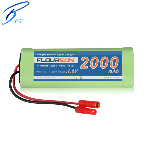 FLOUREON Rechargeable 7.2V Ni-MH Battery Pack 2000mAh Banana Plug for RC Car Truck Truggy RC Hobby 6Cells(China (Mainland))