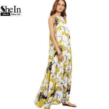 SheIn Womens Summer Long Beach Dresses Boho Ladies New Style Fashion Multicolor Floral Print Sleeveless Maxi Dress(China (Mainland))