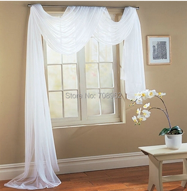 "New Sheer Voile Window Scarf Curtains 60""W x 216"" L 57colors U can choose European curtain valance 1pcs/lot(China (Mainland))"