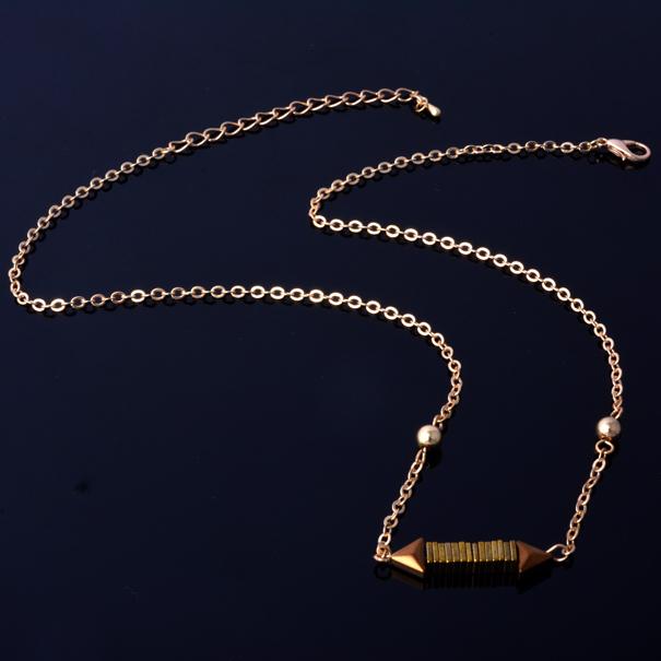 Fashion hematite stone jewelry layering necklace thin gold plated chain necklace elegant bar hematite necklace pendant(China (Mainland))