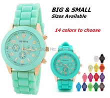 10 pcs LOT Fashion New  Mini Geneva Watch Gold Women Silicone wristwatch Rubber Girl  Wholesale(China (Mainland))