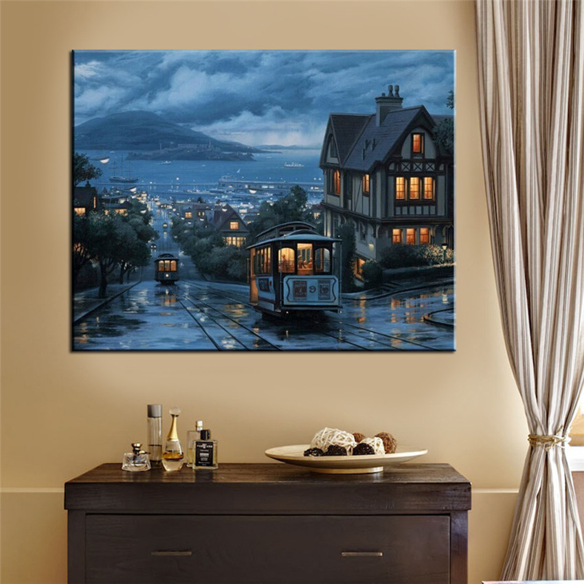 Night Bus Painting By Numbers DIY Hand Painted Wall Pictures Frameless Coloring By Numbers Cuadros Decoracion Canvas Wall Art(China (Mainland))