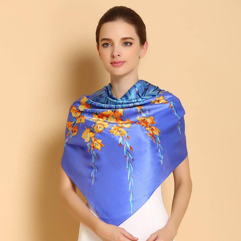 100% Mulberry Silk Scarf Big Square Women Scarf Fashion Floral Printed Shawls Genuine Natural Silk Scarf Female 110*110cm(China (Mainland))