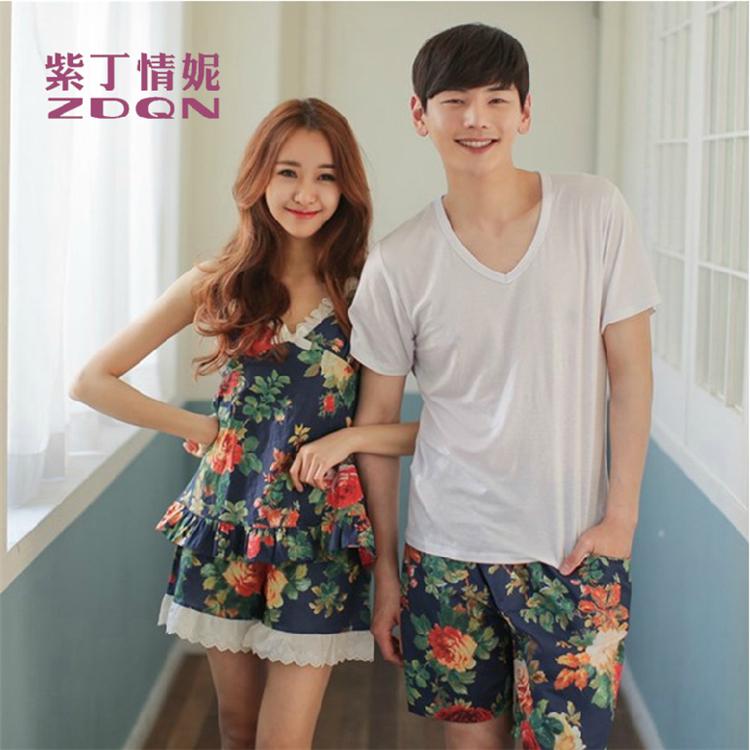 Влюблённые пижама весна / лето короткая - рукав комикс влюблённые для дома одежда пары соответствие пижамы взрослые миньонов пижамы комплект