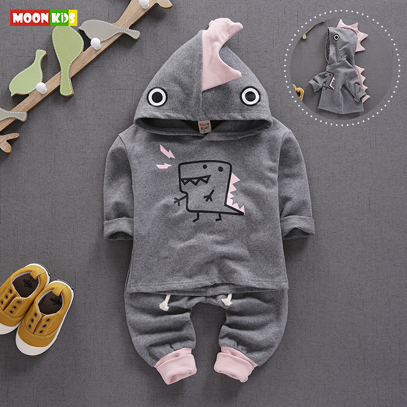 2017 new spring autumn baby boys girls cartoon clothing sets toddler dinosaurs designer long sleeve hooded tops + pants suits(China (Mainland))