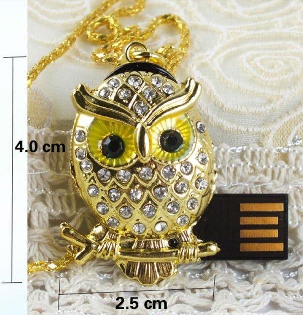 Crystal Metal owl Model USB 2.0 Flash Memory Stick Pen Drive 4GB 8GB 16GB 32GB LU122