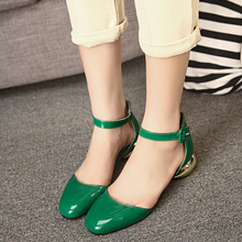 spring fashion women's shoes sandals flat white female button belt square toe low-heeled shoes patent leather single shoes(China (Mainland))