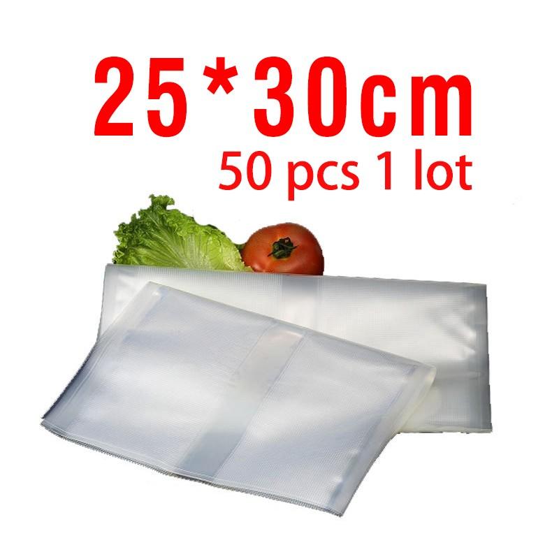 Free shipping 25cm*30cm 50pcs vacuum bags for food Storage FOR Vacuum Sealer Saver packaging bags vacuum bag
