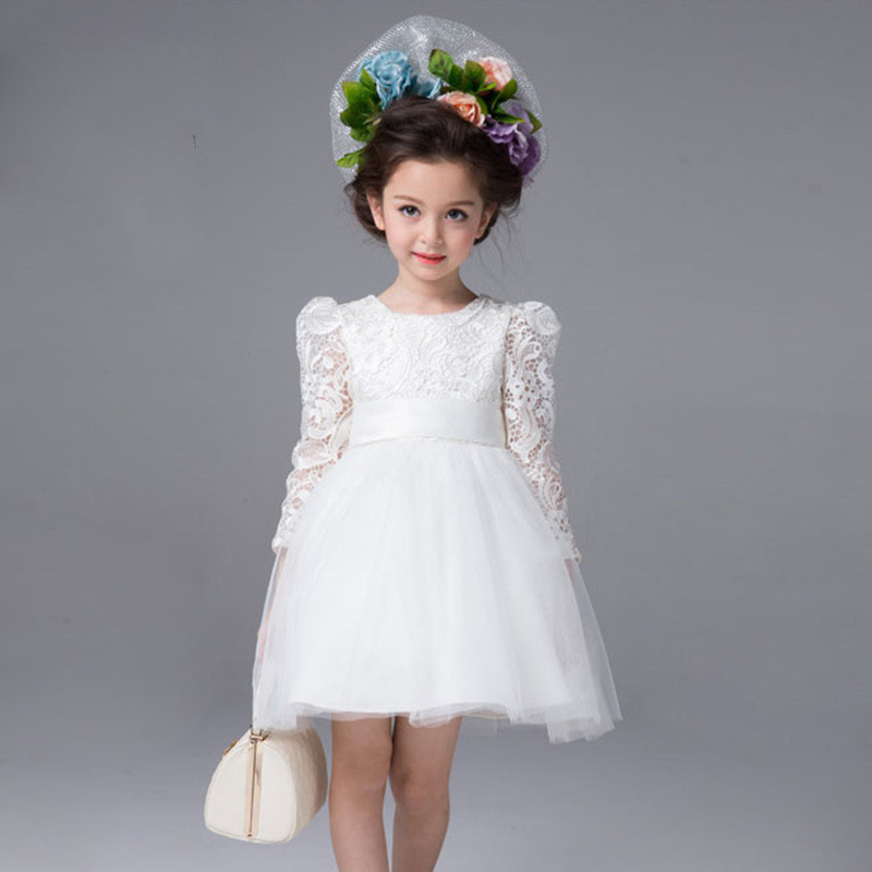 Baby Wedding Dress Autumn Girls White Big Bow Lace Dresses
