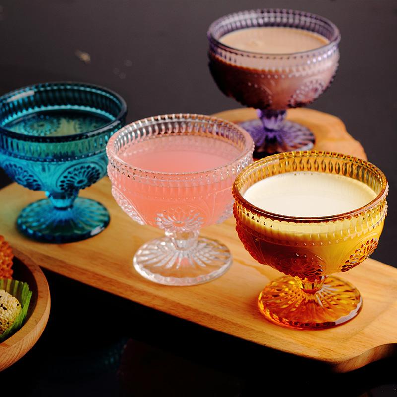 O Envio gratuito de Estilo Europeu Retro Importado de Vidro Em Relevo Esculpido Ice Cream Sobremesa Tigela Tigela de Salada de Frutas Bowls(China (Mainland))
