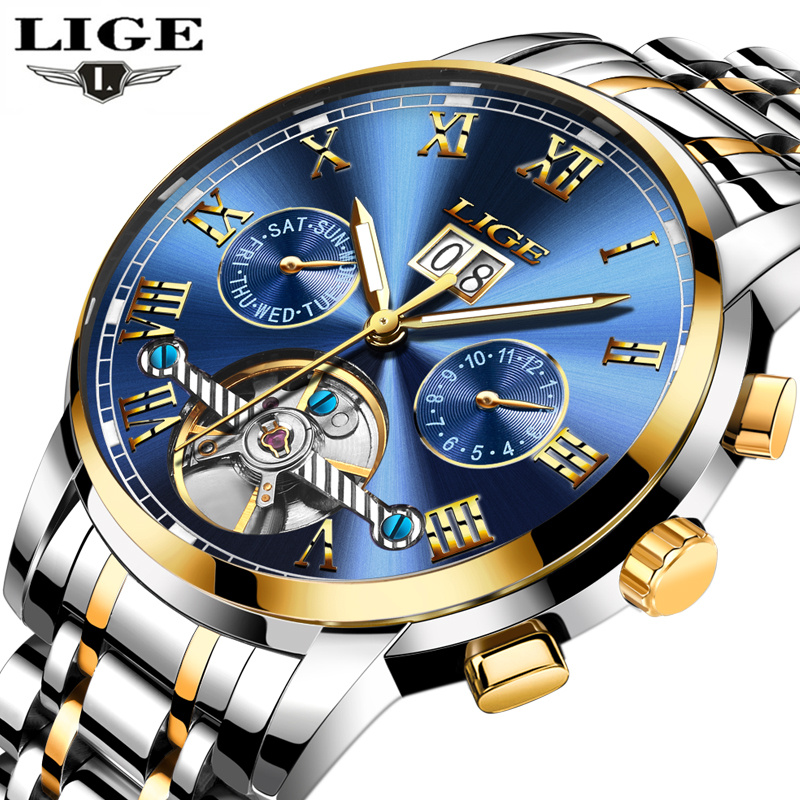 LIGE Mens Watches Top Brand Luxury Automatic Mechanical Watch Men Full Steel Business Waterproof Sport Watches Relogio Masculino(China (Mainland))