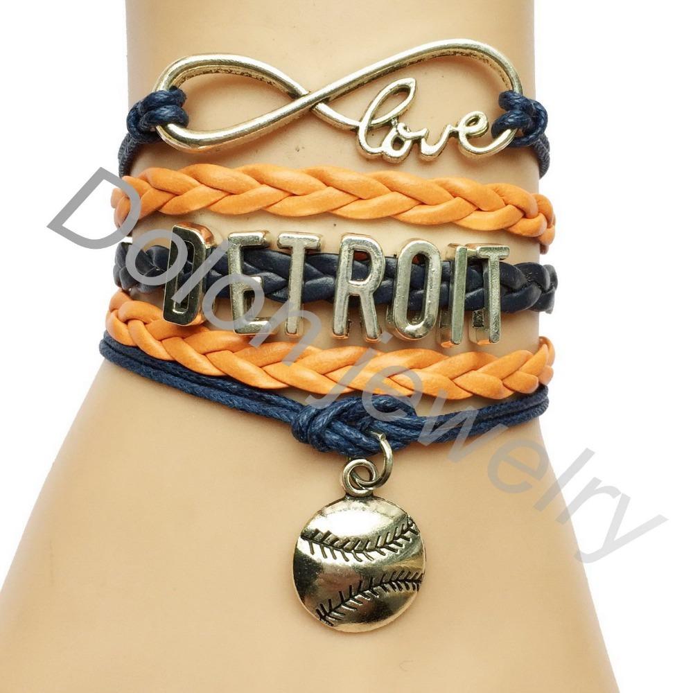 Custom Navy Blue Cord DETROIT Softball Baseball Sports Team Gift Bracelet - Drop Shipping(China (Mainland))