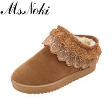 Ms. Noki gruesa de algodón bordado de encaje botines para las mujeres resbalón en los talones planos otoño invierno mujer botas de nieve lindo ocasional zapatos(China (Mainland))