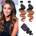 Brazilian Virgin Hair Two Tone With Closure Loose Wave Virgin Ombre Hair With Closure 3 Bundle Brazilian Loose Wave With Closure
