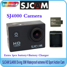 Free shipping!!Original SJCAM  SJ4000  Diving 30M Waterproof extreme HD Sport Action Cam+Extra 1pcs battery+Battery Charger(China (Mainland))