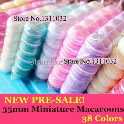 NEW PRE-SALE! Charm Sweet Deco 35mm 20 Assorted Miniature Macaroons,Tokyo Kawaii Sweet Pastel Macaroons Doll Fake Food 38 colors(China (Mainland))