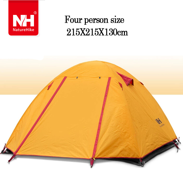 Outdoor Double Layer carpa Camping Tent Waterproof Aluminum Hiking Beach 3-4 person tent tourist Naturehike Ultralight - For Joy Store store