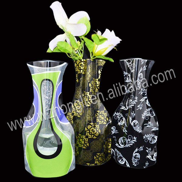 Foldable plastic flower vase for decorative(China (Mainland))