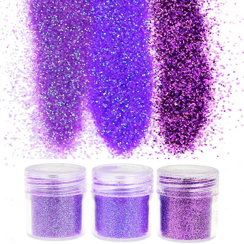 3Bottle/Set Purple Sequins Dust Acrylic Powder Sheet Glitter Polish Gems Nail Art Decoration BG067-069(China (Mainland))