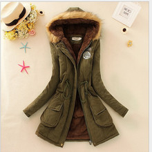 2015 new Winter Womens Parka Casual Outwear Military Hooded Coat Winter Jacket Women Fur Coats Woman Clothes manteau femme J169